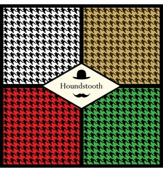 Set of houndstooth check patterns vector