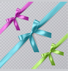 Set of realistic pink blue and green vector