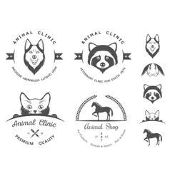 Set vintage logos for vet clinic vector