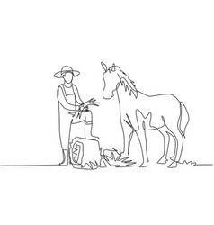 single continuous line drawing young male farmer vector image