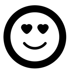 smile with heart eyes icon black color in circle vector image