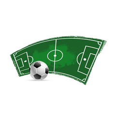 Soccer football field and ball grunge icon vector