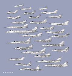 Soviet cold war fighters outline drawing vector