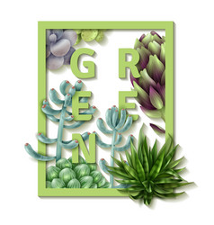 Succulent green frame vector