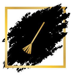 Sweeping broom sign golden icon at black vector