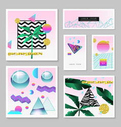 Synth wave tropical poster set futuristic vector