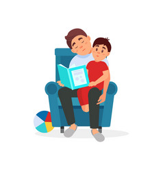 Tired father reading a book to his son parenting vector