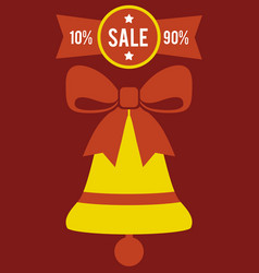 Total sale from 10 to 90 promo poster with bell vector