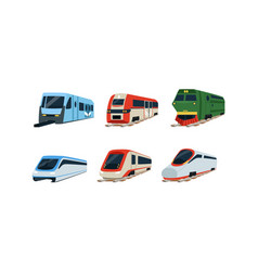 train locomotives collection modern and retro vector image