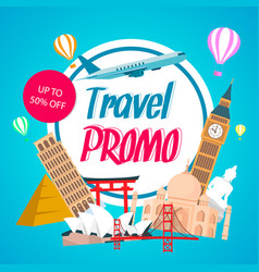 Travel promo discount coupon template with text vector