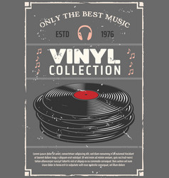 Vinyl records music shop retro poster vector