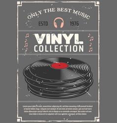 vinyl records music shop retro poster vector image