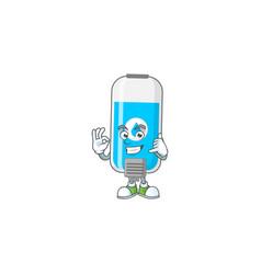 Wall hand sanitizer mascot make a call gesture vector