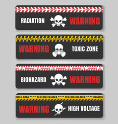 Warning tape with skulls vector