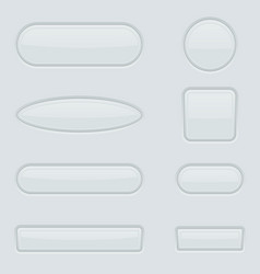 white buttons set 3d web interface elements vector image