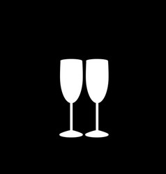 White silhouette of couple champagne glasses on vector