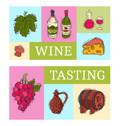 wine taste club banner glass vector image