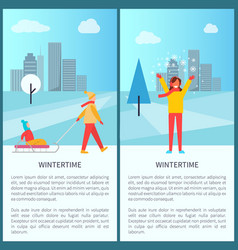 Wintertime snowy town park vector