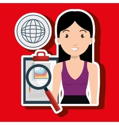 Woman clipboard search global vector