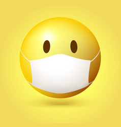 Yellow emoji emoticon with medical mask on face vector