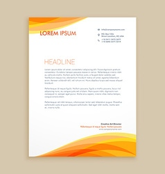 Yellow wave creative letterhead vector