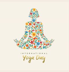 yoga day card of girl in lotus pose for meditation vector image