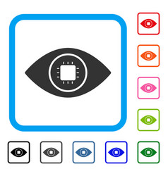 Bionic eye lens framed icon vector