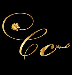 Gold letter C with roses vector image vector image