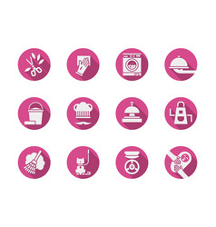 housekeeping pink round icons set vector image