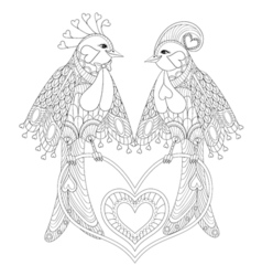 Lovely couple of exotic bird sitting on heart for vector image