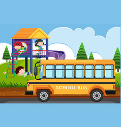 scene with children playing in park and school bus vector image