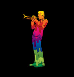 Trumpeter player a man play trumpet classic music vector