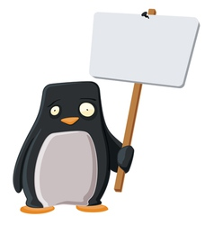 worried penguin with a sign vector image vector image