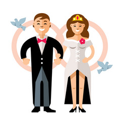 beautiful young bride and groom couple vector image