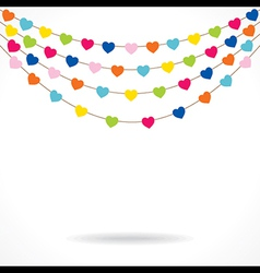 colorful heart shape flag with confetti design vector image