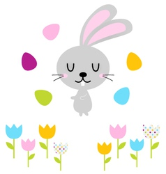 Cute easter bunny with eggs isolated on white vector image vector image