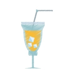 drawing cocktail fresh drink straw ice vector image