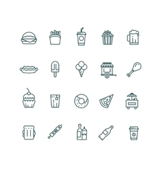 Fast food and snack thin line icons set vector image vector image