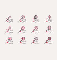 flower store emblems set vector image