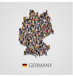 large group of people in germany map form vector image vector image
