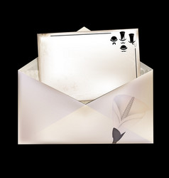 white envelope and retro card vector image vector image