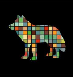 wolf predator color silhouette animal vector image vector image