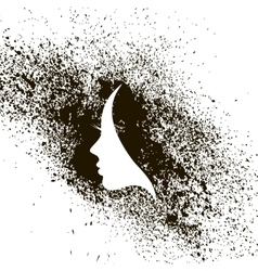 Female profile silhouette ink stains vector image
