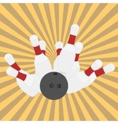 Bowling ball and pins - vector image