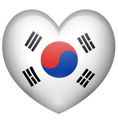 heart shape with korean flag vector image