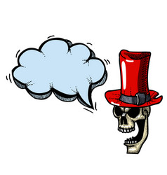 laughing skull in top hat-100 vector image