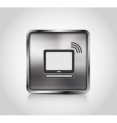 Metal icon notebook wireless connection vector image vector image