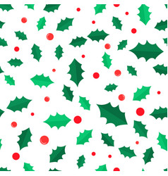 mistletoe tree with red balls seamless pattern vector image