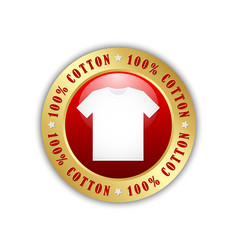 100 cotton t-shirt badge or icon isolated vector image