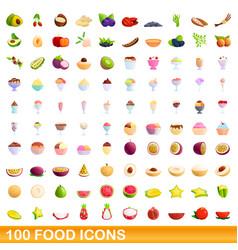 100 food icons set cartoon style vector